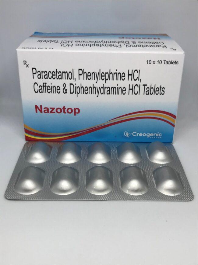 Paracetamol 325 MG + Phenylepherine 5 MG + Caffiene 30 MG + Diphenhydramine HCL 25 MG